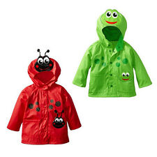 Kids Rain Jacket Cartoon Hooded Raincoat Boys Girls Waterproof Outwear Poncho