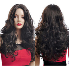 Hot Womens Fashion Long Curly Straight Hair Wigs Cosplay Party Wig Parted Bangs