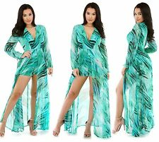 Green Printed Maxi Romper with Deep V-Neckline Plunge Flowy Long Dress Style