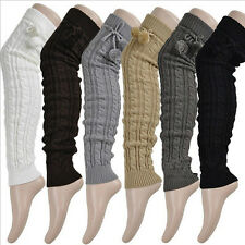 Warm Knited Cotton Sock Winter Warm Thigh-High Leggings Soft Thick Long Socks