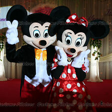 High Quality Mickey Minnie Mouse Mascot Costume Halloween Party Dress Free Ship