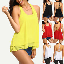 Womens Lady Summer Vest Top Sleeveless Blouse Bandage Casual Tank Tops Tee Shirt