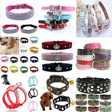 Adjustable Leather Crystal Bling Rhinestone Pet Collar Puppy Dog Cat Neck Strap