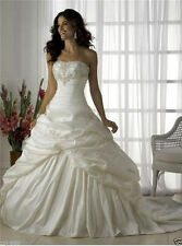 White/Ivory Embroidered Taffeta Wedding dress Bride Gown Size 6 8 10 12 14 16 18