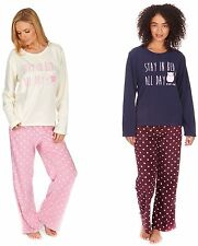 LADIES FLEECE PYJAMA SET STAY IN BED ALL DAY SMALL, MEDIUM, LARGE, EXTRA LARGE