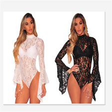 Sexy Halter Halterneck Caged Bandage Bodysuit with Sheer Mesh Women Dress