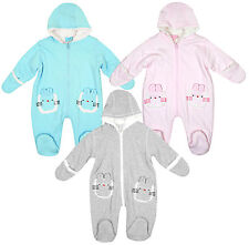 Baby Pramsuit Snowsuit Bunny Rabbit Fleece Hooded Mitts Newborn to 6 Months