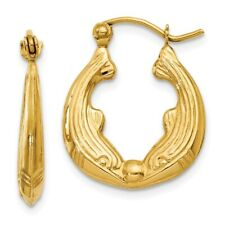 Double Dolphin Hoop Earrings in Polished Genuine 14k Yellow Gold - 16 to 32mm