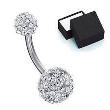 14G Belly Button Navel Ring Bling Disco Ball Clear Crystal