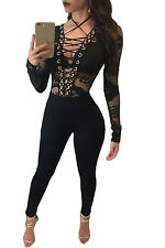Sexy Women Jumpsuit Black Club Party Lace-up Hollow-out Slim Long Sleeve Romper