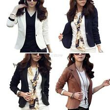 Womens Slim Solid Suit Blazer Jacket Coat Fashion One Button Tops Outwear