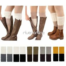 Women Lady Reversible Crochet Knitted Button Boot Cuffs Toppers Leg Warmers Sock