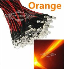 Wholesale 3mm 12V Prewired LED Bright Light Lamp Orange Bulb 20cm Pre-wired LEDs