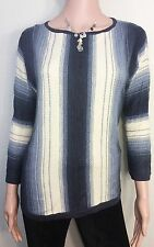 Chaps Women Wide Stripes Down Boat-Neck Sweater 3/4 Sleeves Navy and Cream