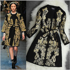 lady woolen Gold Line vintage High quality embroidered jacket coat trench park