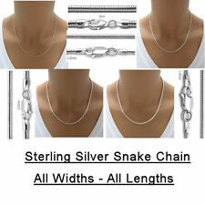 925 Solid Sterling Silver SNAKE Chain Necklace, 8 Widths - All Lengths. Italy