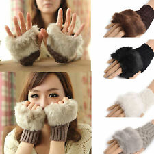 Women Winter Warmer Faux Rabbit Fur Hand Wrist Knitted Fingerless'Gloves Mittens