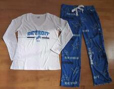 Womens NFL DETROIT LIONS Pajamas Size L XXL Fleece Pants Long Sleeve T-shirt NWT