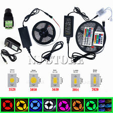 5M SMD 3528/5050/5630/7020 300LEDs RGB White LED Strip Light 12V Power Supply US