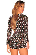 Geometric Turtleneck Stylish Aztec Sequins Long Sleeves Romper Women Jumpsuit