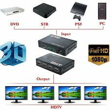 Full HD HDMI Splitter 1X4 4 Port Hub Repeater Amplifier v1.4 3D 1080p 1 in 4 KG