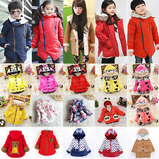 Kids Boys Girls Cotton Clothes Hooded Jacket Down Coat Winter Warm Outerwear Top