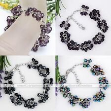 Crystal Glass Faceted Abacus Flower Bead Link Chain Bangle Bracelet Lady Jewelry