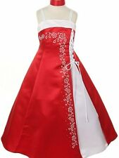 Elegant Floral Caviar Beaded Satin A-Line Flower Girl Dress Wedding Dance Prom