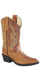 Old West Light Brown Childrens Boys Leather J Toe Cowboy Western Boots