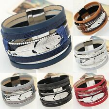 Feather Wide Magnetic Leather Bracelet Bangle Crystal Multilayer Fashion Jewelry