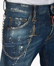 Dsquared 2 runway Cool Guy Jeans NWT paint splatters metal chain Authentic items