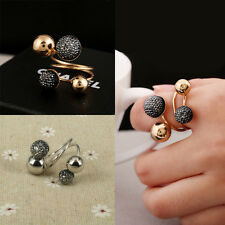 1PC Women Adjustable Resin Ball Little Golden Beans Rings Fashion Jewelry Gift
