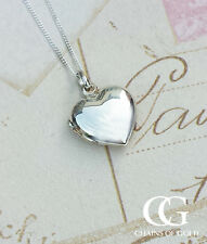 "Sterling Silver Heart Shaped Locket Necklace 18"" 20"""