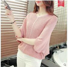 new Autumn Korean fashion v-neck loose bat sleeve Knitting sweater coat