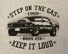Ford Mustang 69' Boss 429 Hot rod muscle V8 vintage car gray t shirt