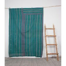 Indian Striped Bengali Traditional Work Quilt Cotton Bedspread Blanket Gudari
