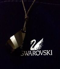 NEW GENUINE SWAROVSKI CRYSTAL JET BLACK HELIX  PENDANT LEATHER SILVER NECKLACE