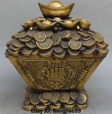 "13"" Chinese FengShui Folk Bronze Coins YuanBao Wealth Treasure Bowl Statue"
