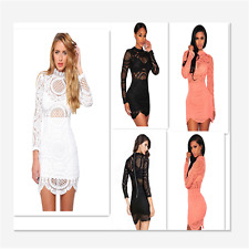 Women Dress Visible Back Zip Fitted Fabric Crochet Lace High Neck Mini Dress