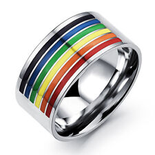 316L Stainless Steel Rainbow Rings gay pride LGBT jewelry for men and women