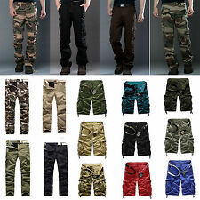 ARMY CARGO CAMO COMBAT MILITARY TROUSERS MEN SLIM CAMOUFLAGE PANTS CASUAL SHORTS