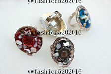 10Pcs Wholesale Mixed Lots Resin Shell Gemstone Vintage Silver Plated Rings FREE