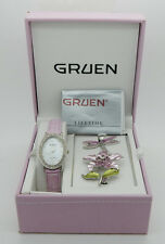 Ladies GRUEN Oval Stainless Steel Crystal Pink Leather Band Watch w/Brooches Box