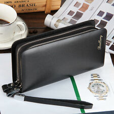 Men's Leather Clutch Bag Long Wallet Purse Zipper Card Holder Business Handbag