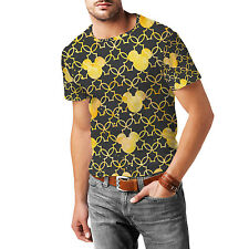 Mickey Mouse Watercolor Yellow Mens Cotton Blend T-Shirt XS-3XL All-Over-Print