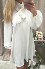 """""""Esther"""" Balloon Sleeves White Tie Neck Pussy Bow Shirt Dress Boutique 8-18"""