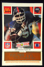 "LAWRENCE ""LT"" TAYLOR AUTOGRAPHED 1986 McDONALD'S GIANT'S ALL-STAR CARD FREE SHIP"