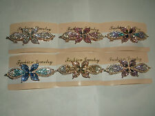 Gold Plated Diamante Butterfly French Clip
