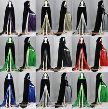 Halloween Velvet Hooded Cloak Cape Witchcraft Christmas Wedding Stock Size S-6XL