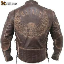 Xelement Men's distressed leather Flying Skull Racer Brown MOTORCYCLE  Jacket